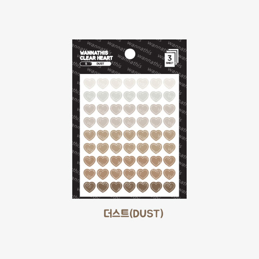 Dust - Heart small clear sticker set of 3 sheets
