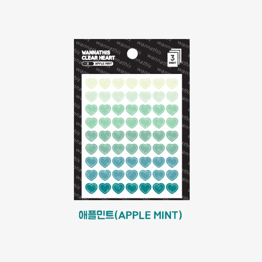 Apple mint - Heart small clear sticker set of 3 sheets
