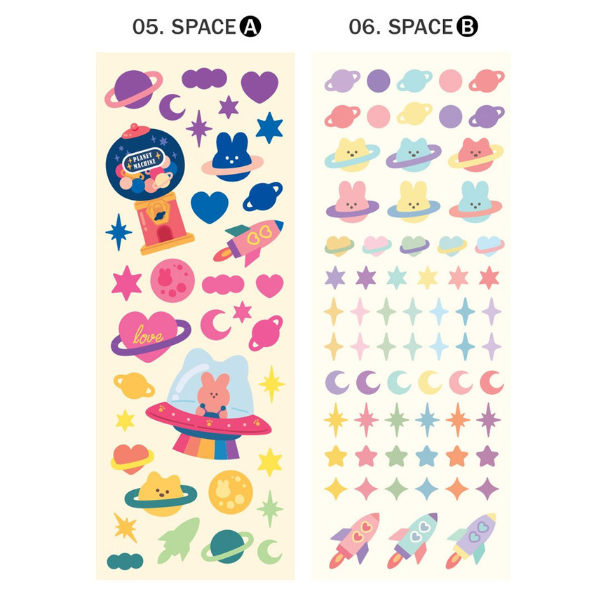 Detail of ICONIC Sunny glitter removable sticker seal pack