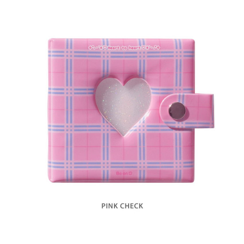 Pink check - Instax mini 3 ring slip in pocket photo album
