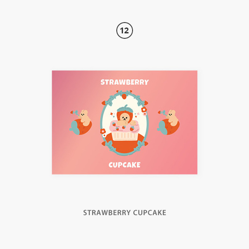 12 strawberry cupcake - Second Mansion Jucy and Paul Holographic Postcard 09-16