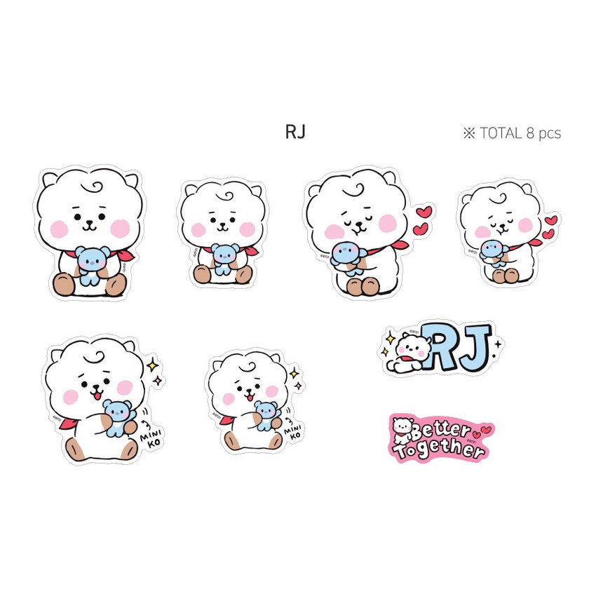 RJ - BT21 Little Buddy Baby Removable Sticker Pack