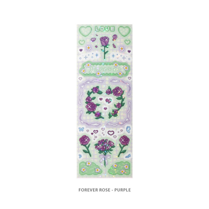 Forever rose purple - After The Rain Cyber Love Glitter Sticker Seal