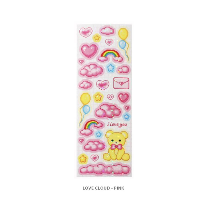 Love cloud pink - After The Rain Cyber Love Glitter Sticker Seal