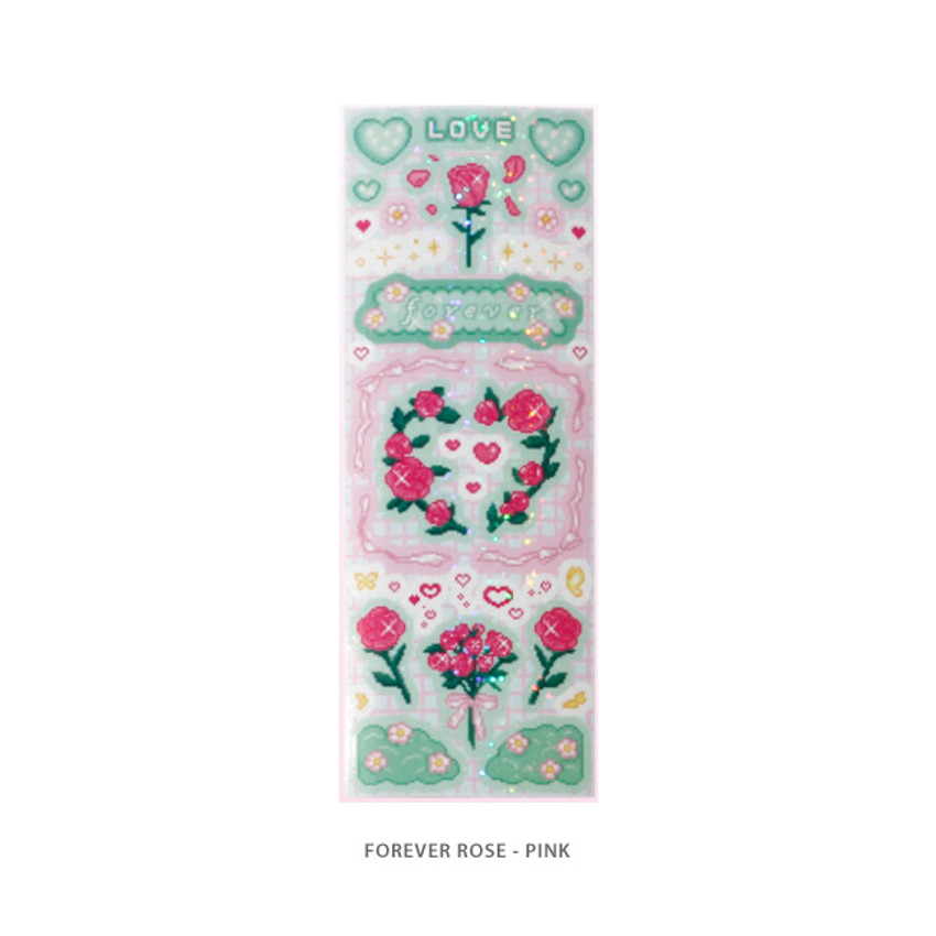 Forever rose pink - After The Rain Cyber Love Glitter Sticker Seal