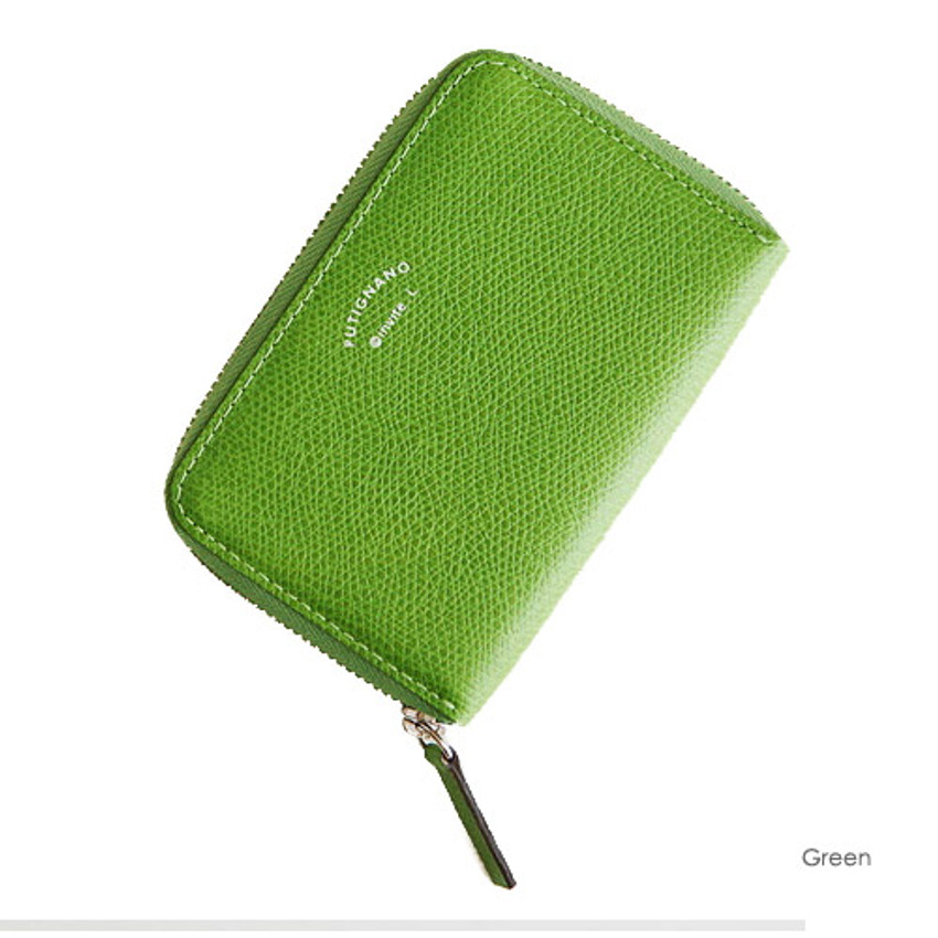 Green - Leather zipper card pouch case