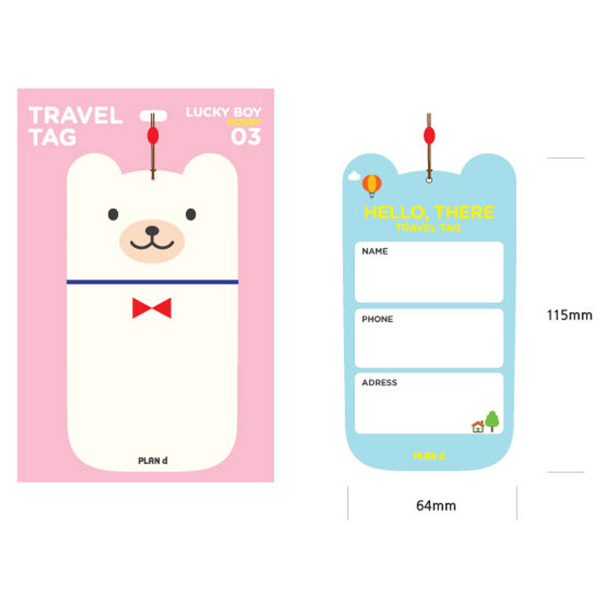 Size of Lucky boy travel luggage name tag