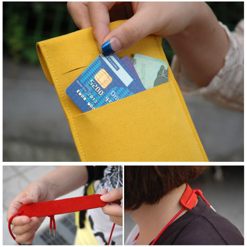 Detail view of Soft chamude smartphone strap pouch