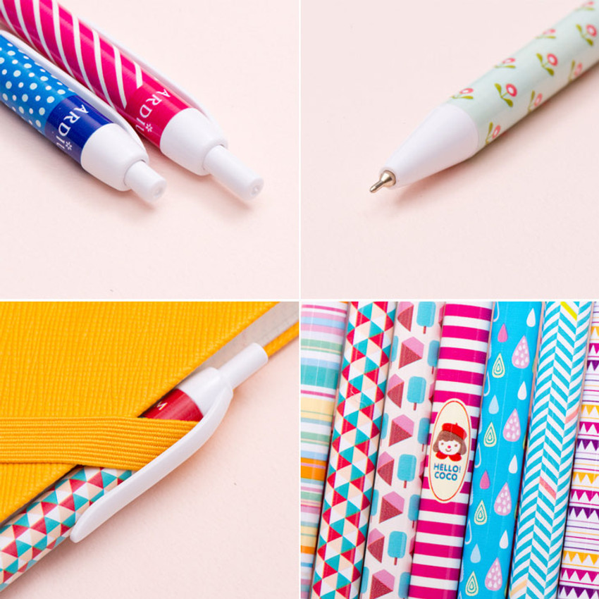 Detail view of Colorful pattern ballpoint pen 0.38mm