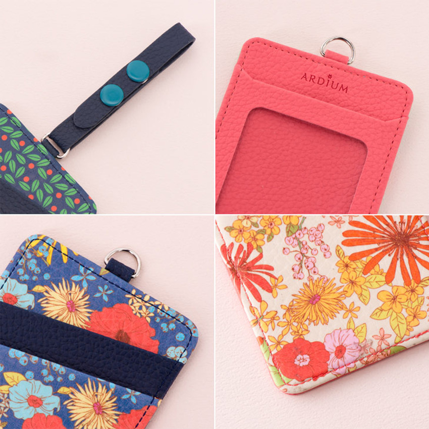 Detail view of Flower pattern travel luggage name tag