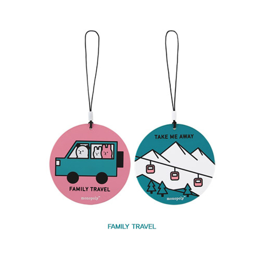 Family travel - Cute illustration travel luggage name tag ver.3