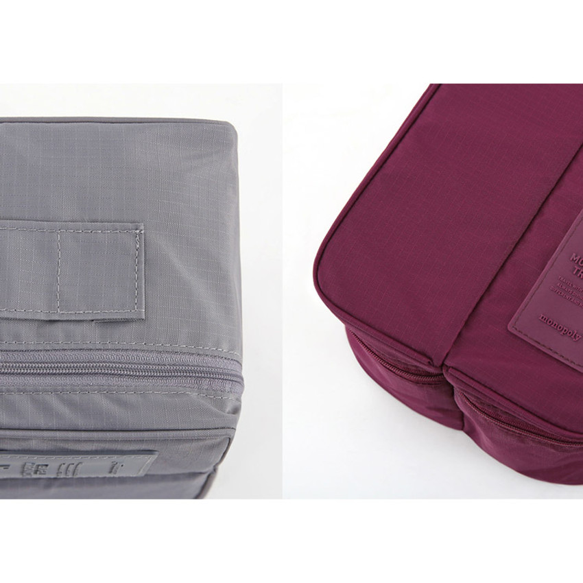 Detail view of Travel divided underwear packing organizer bag