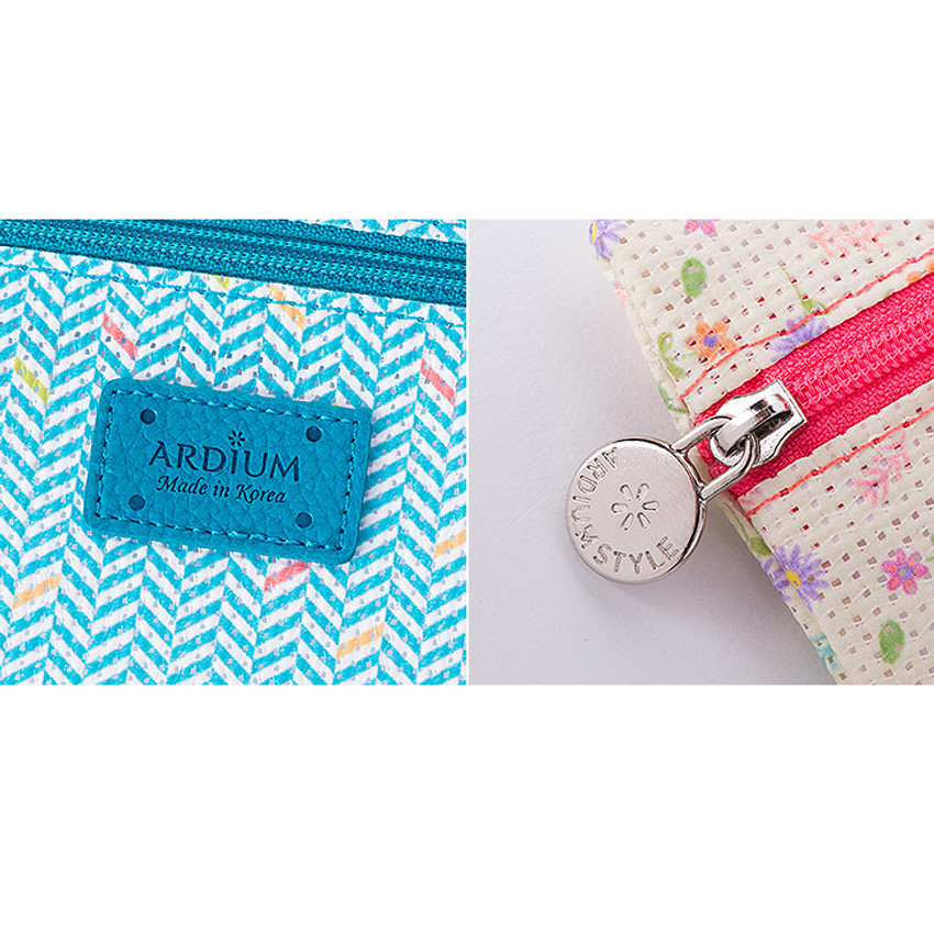 Detail of Summer pattern flat zipper pouch small