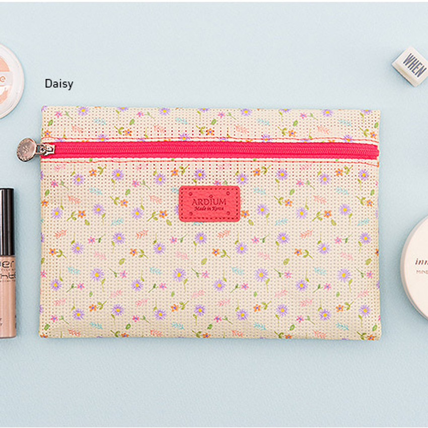 Daisy - Summer pattern flat zipper pouch small