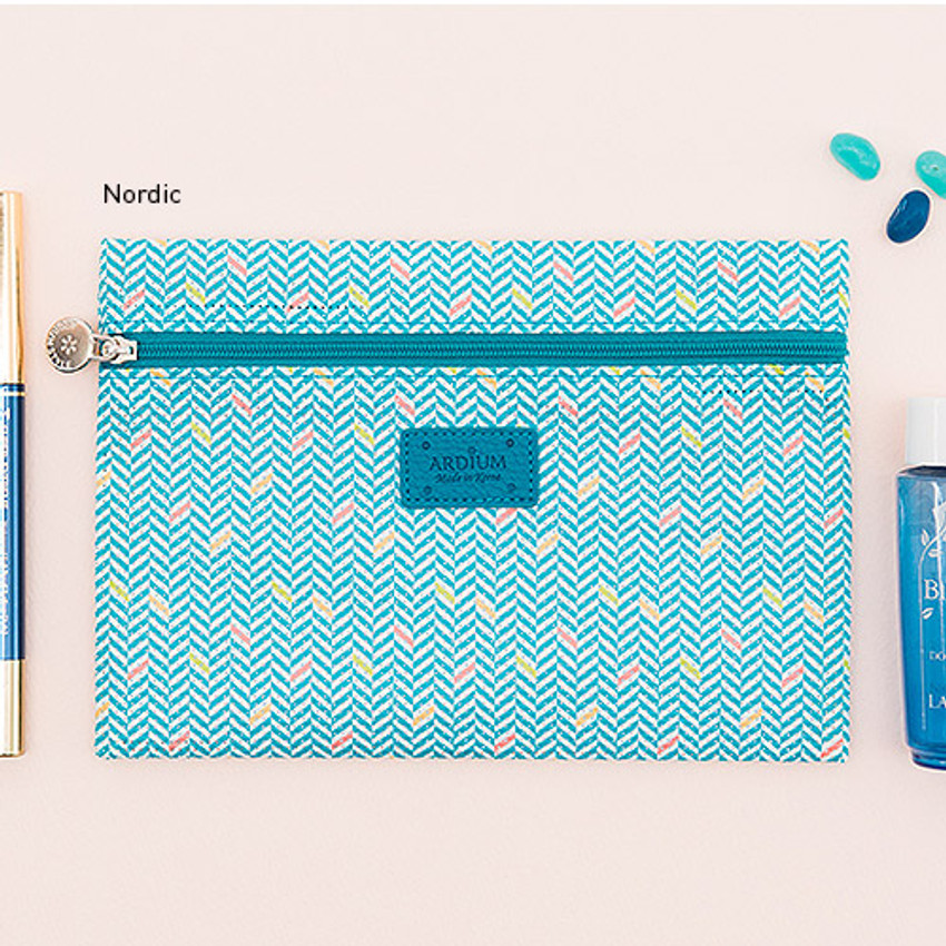 Nordic - Summer pattern flat zipper pouch small