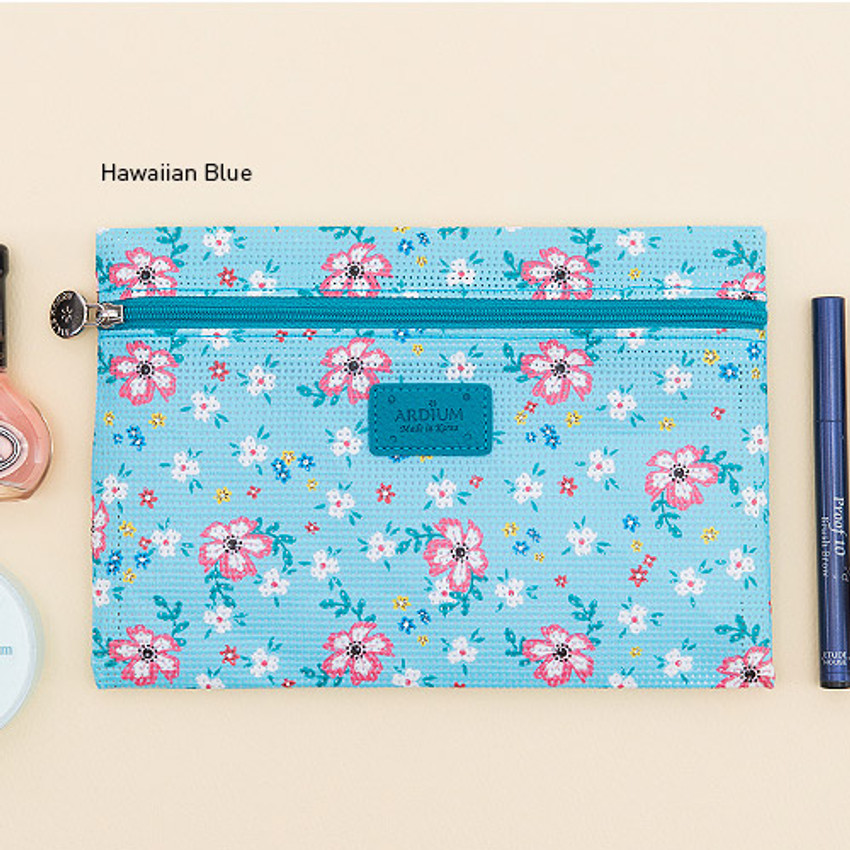 Hawaiian blue - Summer pattern flat zipper pouch small
