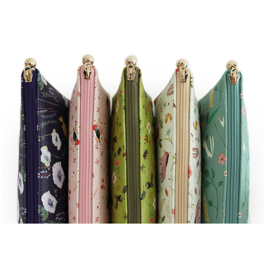 Detail view of Willow story illustration pattern pencil case
