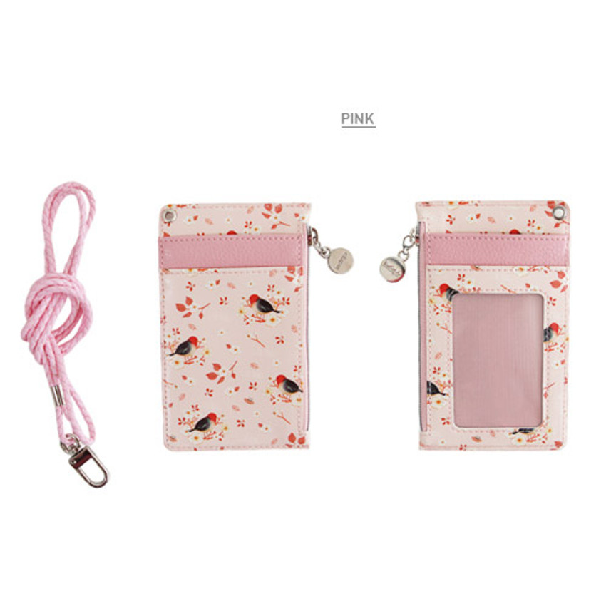 Pink - Willow story illustration pattern flat card holder case