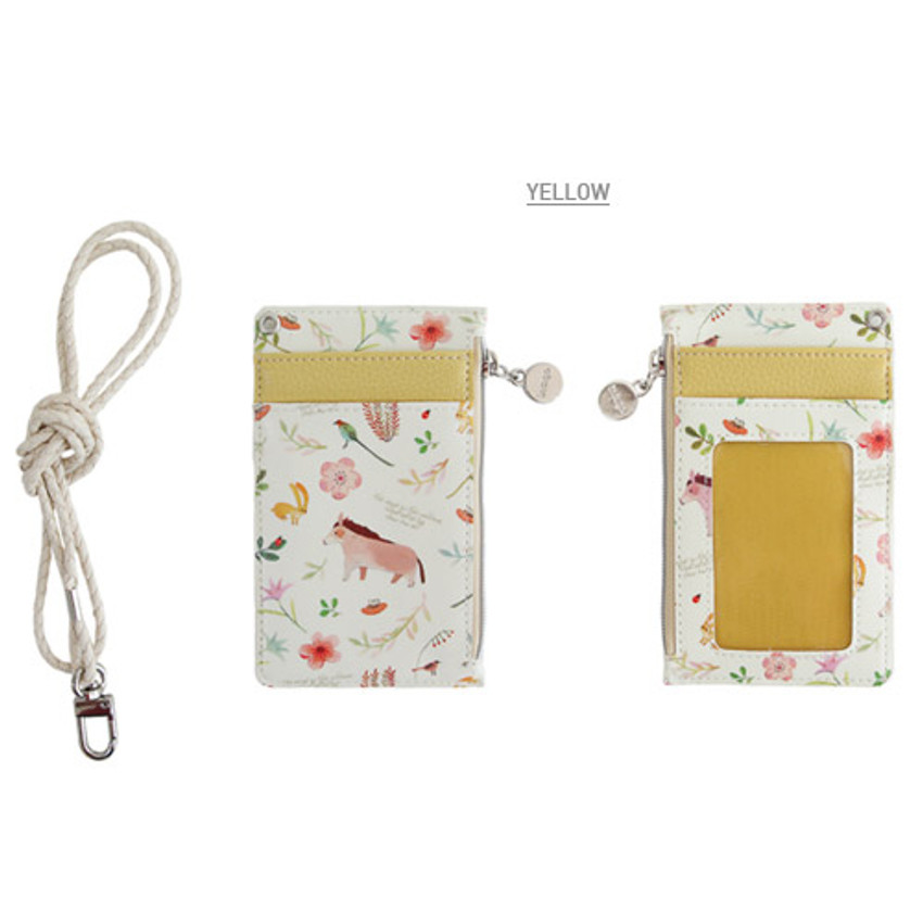 Yellow - Willow story illustration pattern flat card holder case