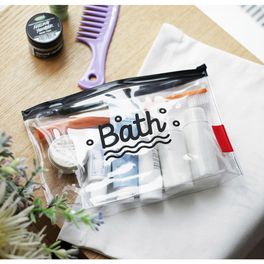 Travel clear zip lock toiletries pouch
