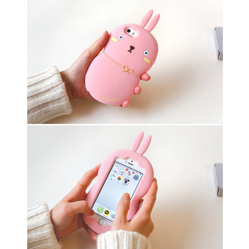 Pink - Monomate cute rabbit iPhone 5/5S jelly case