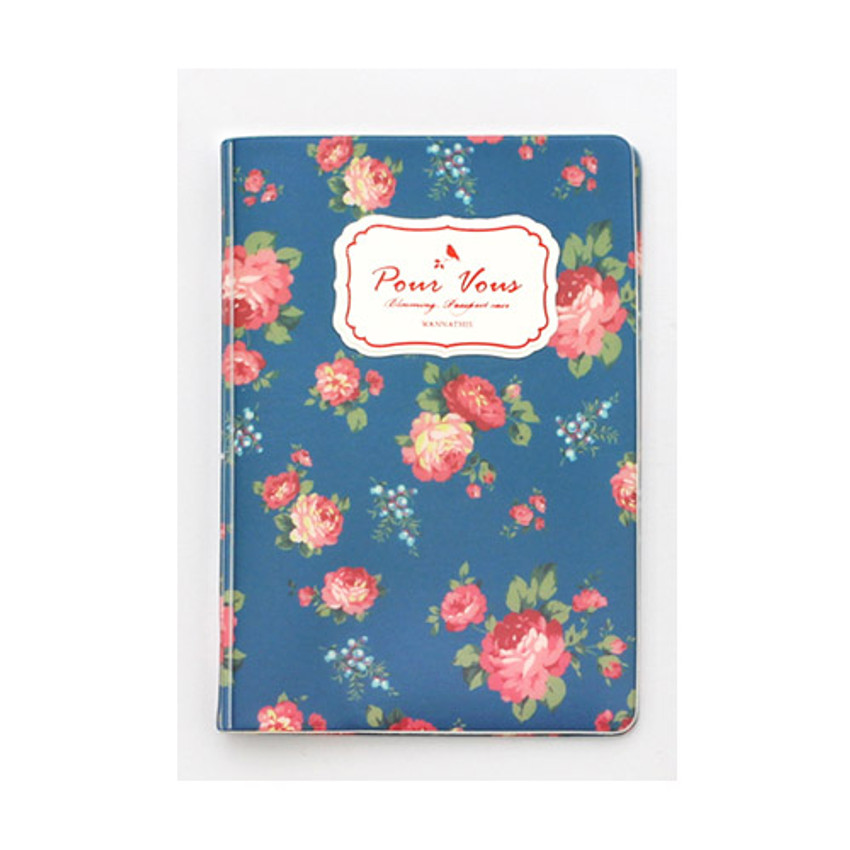 Navy - Pour vous flower pattern passport cover
