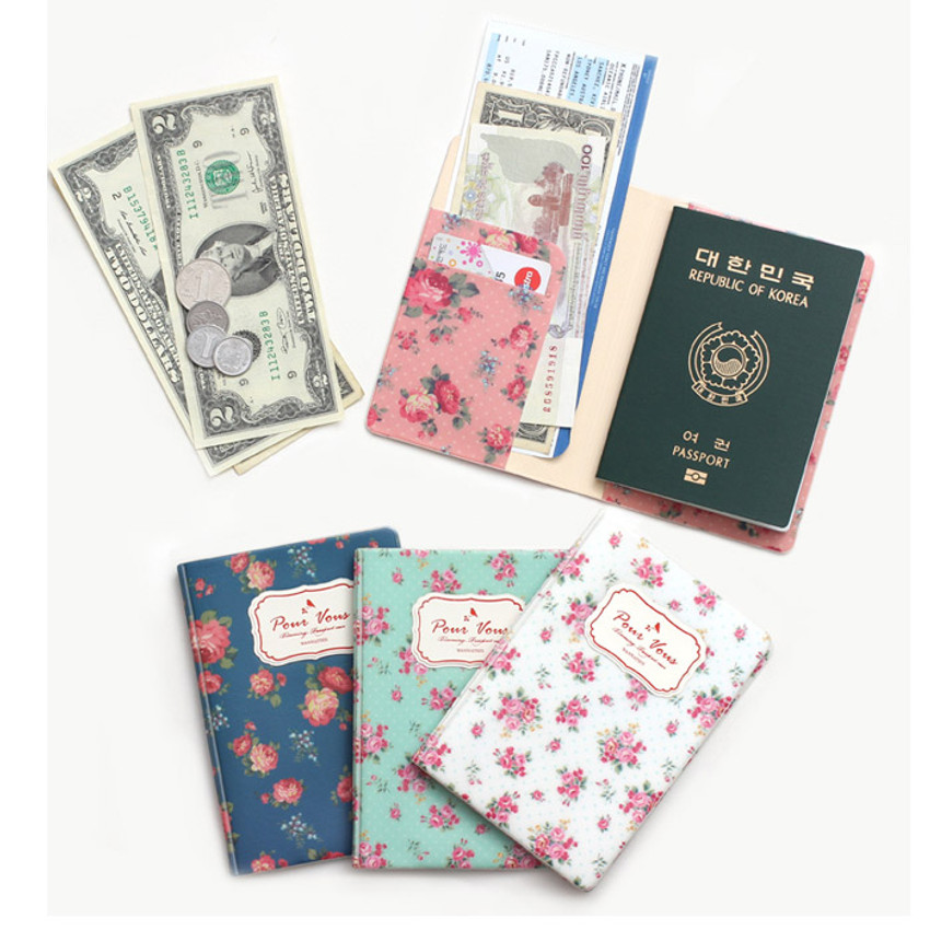 Pour vous flower pattern passport cover