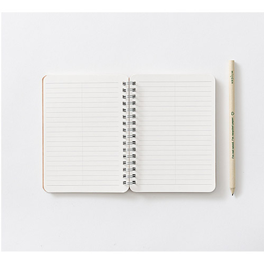Wirebound Kraft nature lined notebook small