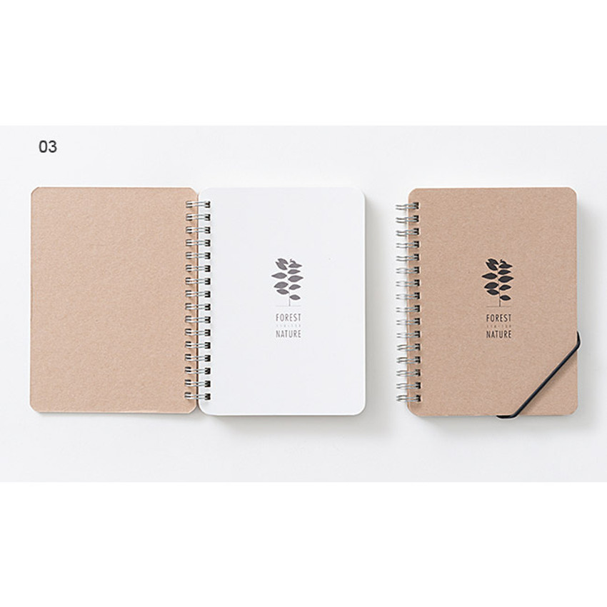 03 - Wirebound Kraft nature lined notebook small