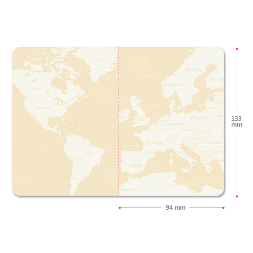 Size of World map passport cover case