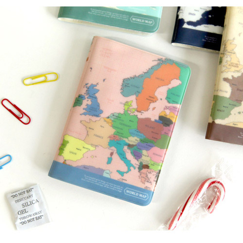 Colorful - World map passport cover case
