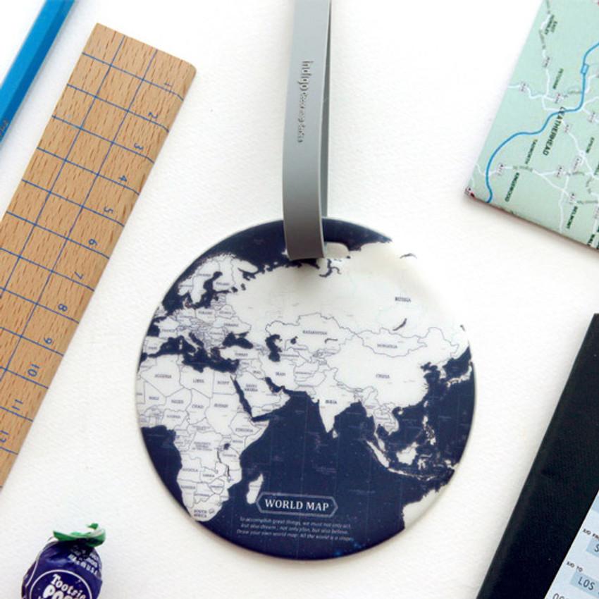 Indigo - World map travel luggage name tag