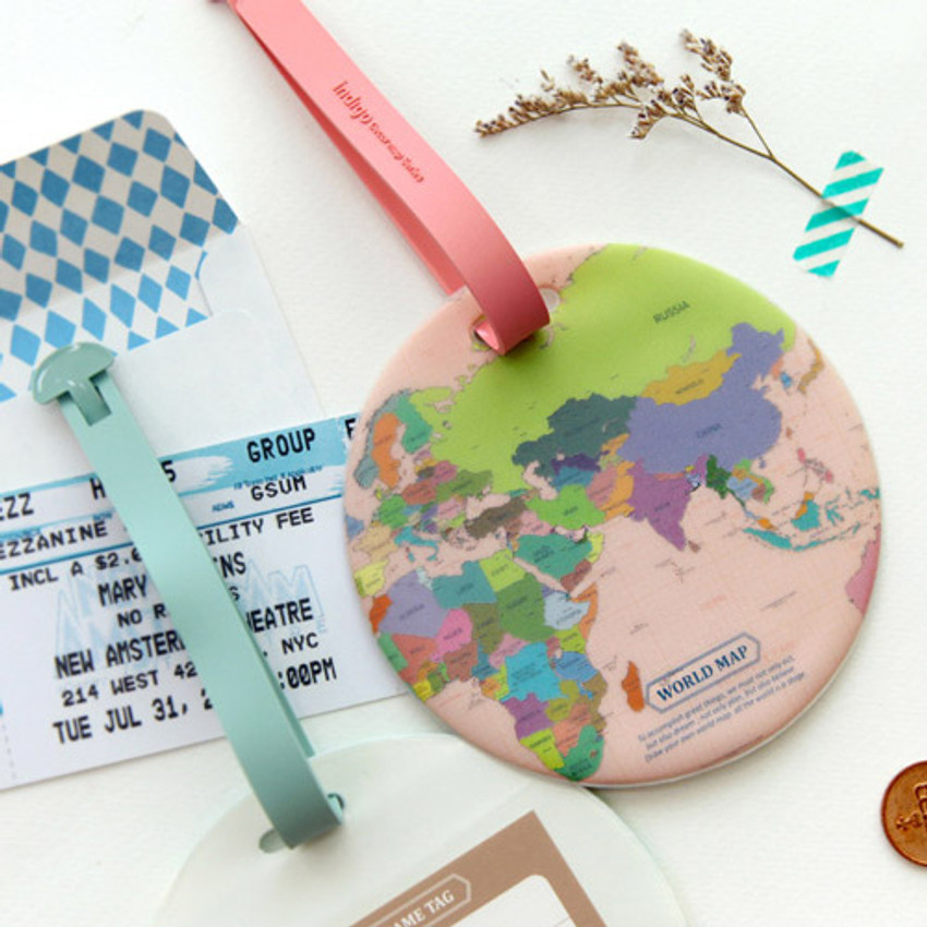 Colorful - World map travel luggage name tag