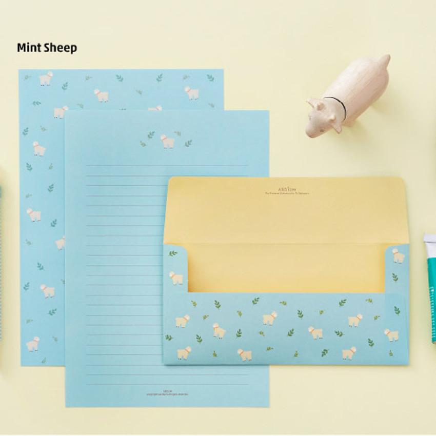 Mint sheep - Animal letter paper and envelope set