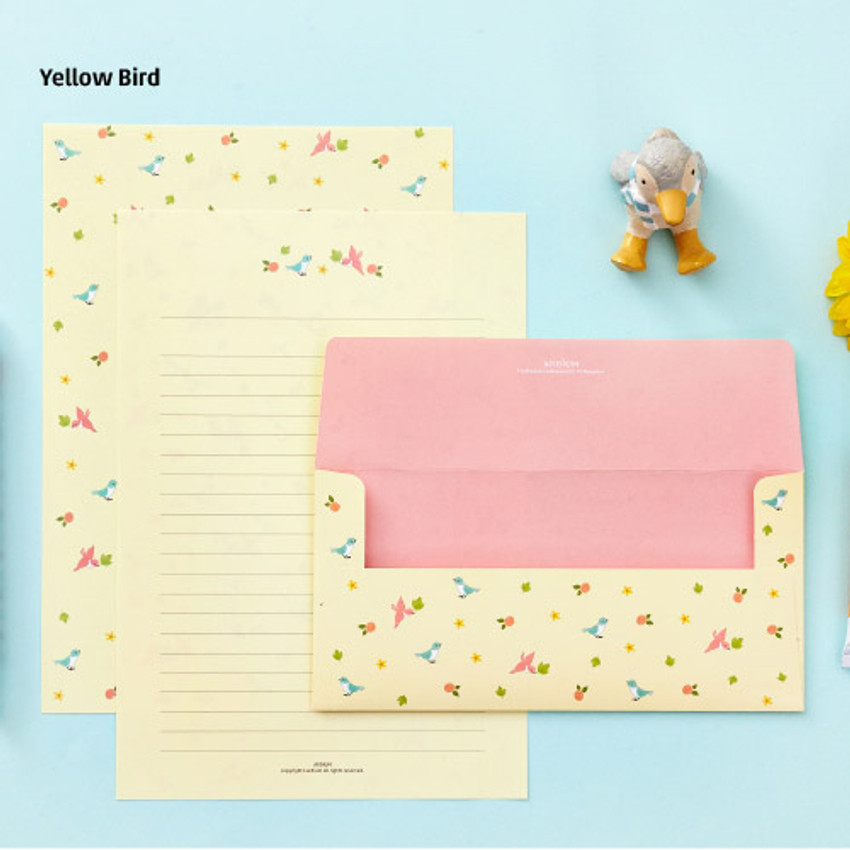 Yellow bird - Animal letter paper and envelope set