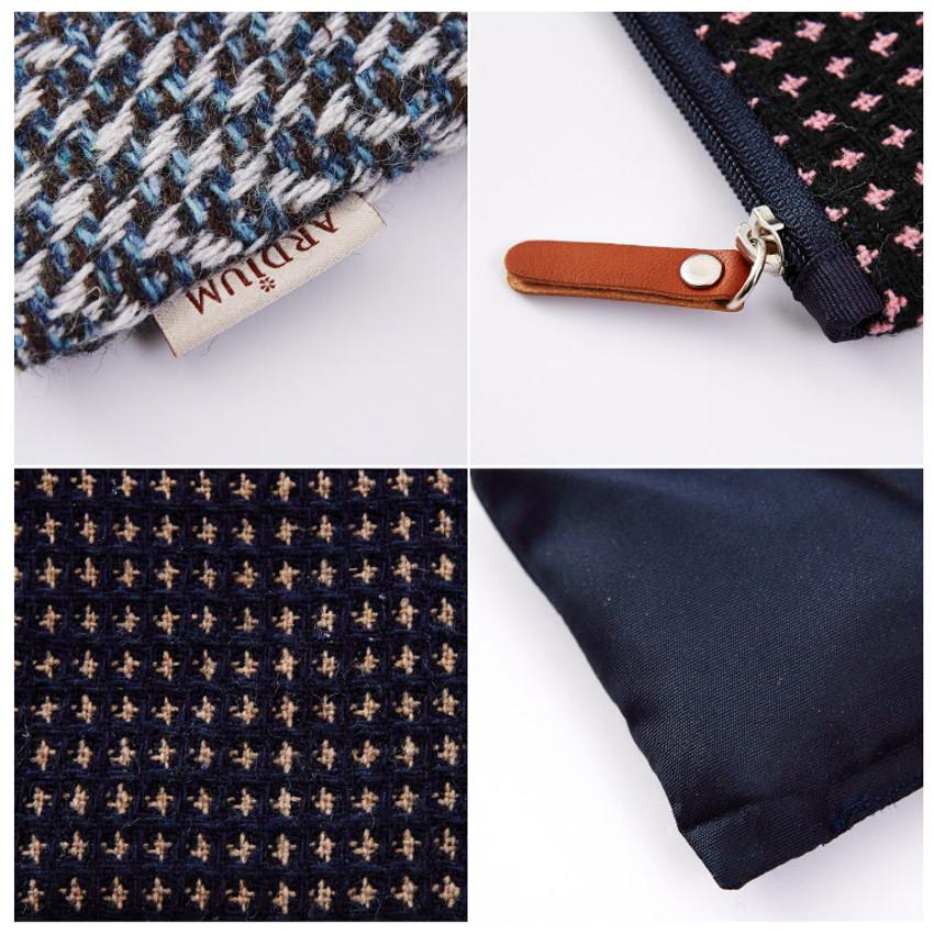 Detail of Wool pattern flat zipper medium pouch