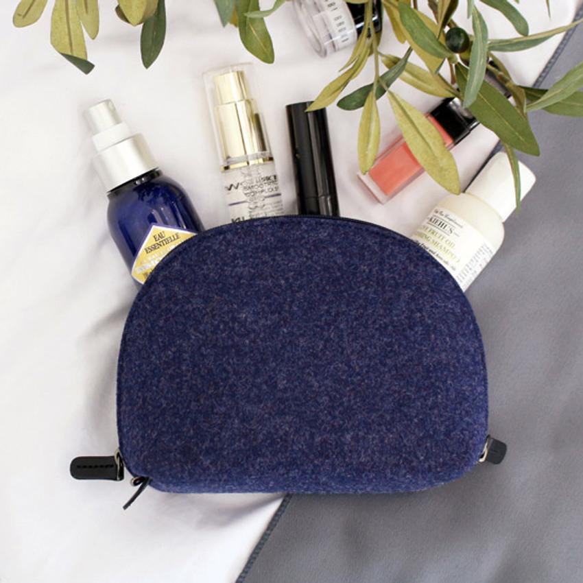 Blue - The Basic felt round standing zipper pouch ver.3