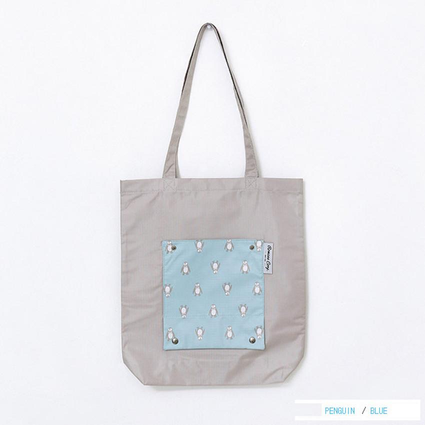 Blue - Mr.wood pocket foldable eco tote bag