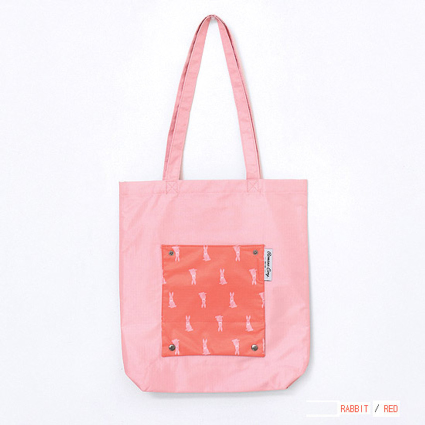 Red - Mr.wood pocket foldable eco tote bag