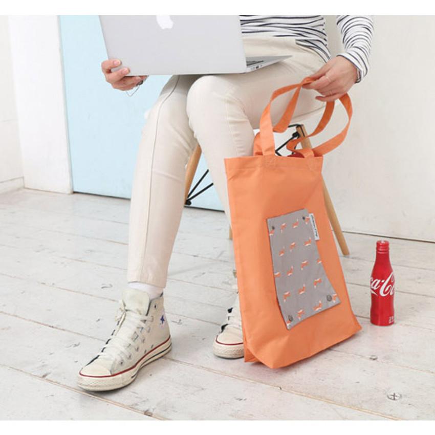 Gray - Mr.wood pocket foldable eco tote bag