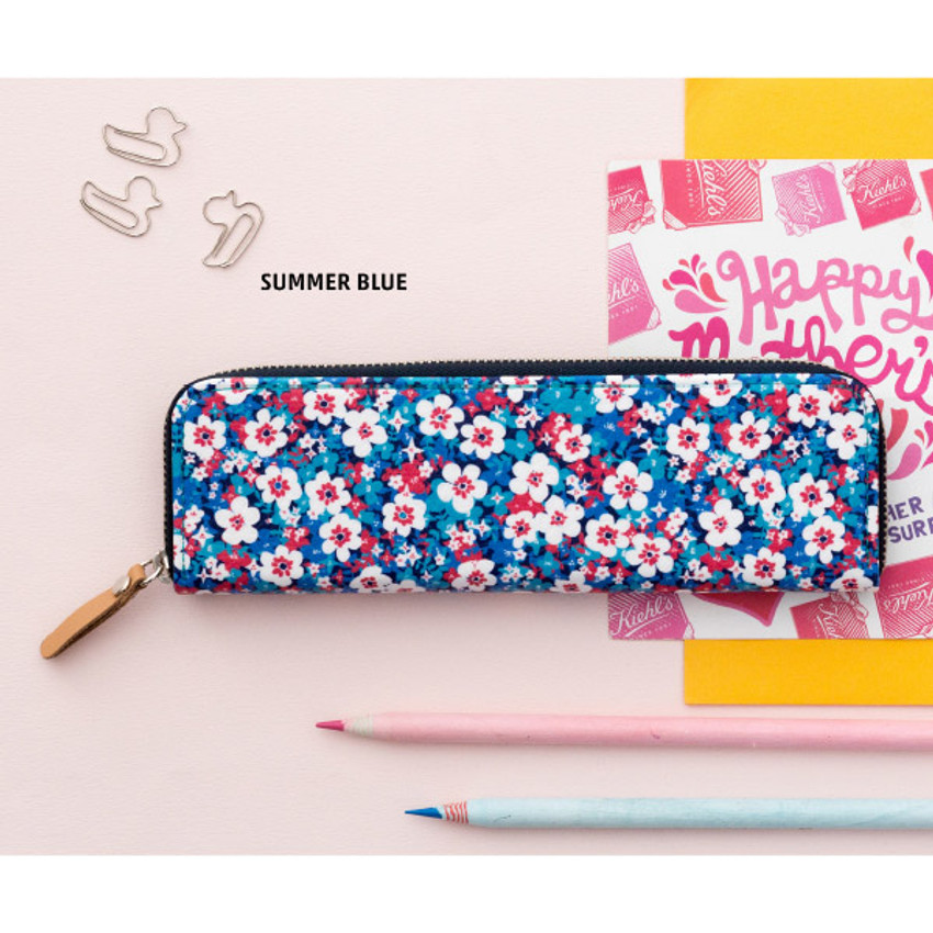 Summer blue - Pattern handy zipper pencil case