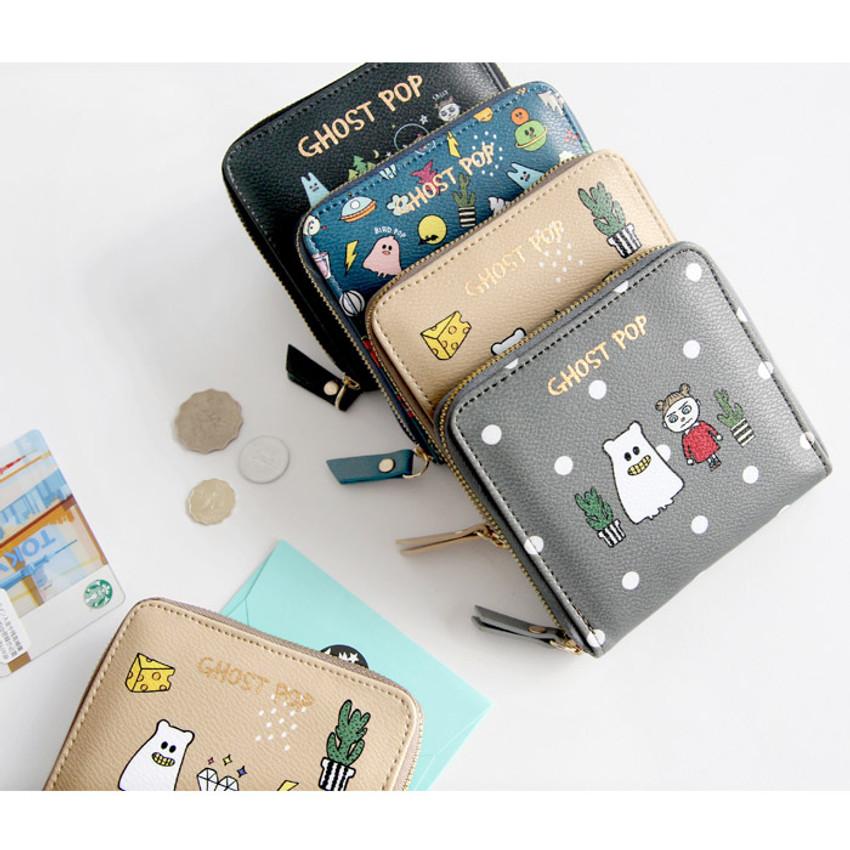 Ghost pop zip around small wallet