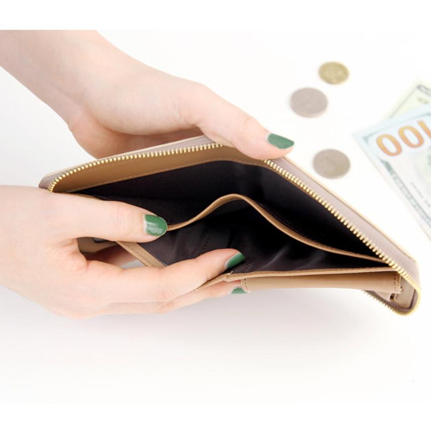 Beige - Ghost pop zip around small wallet