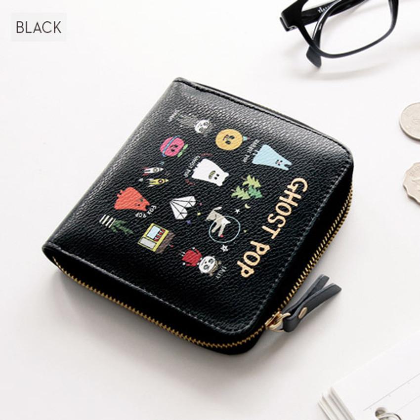 Black - Ghost pop zip around small wallet