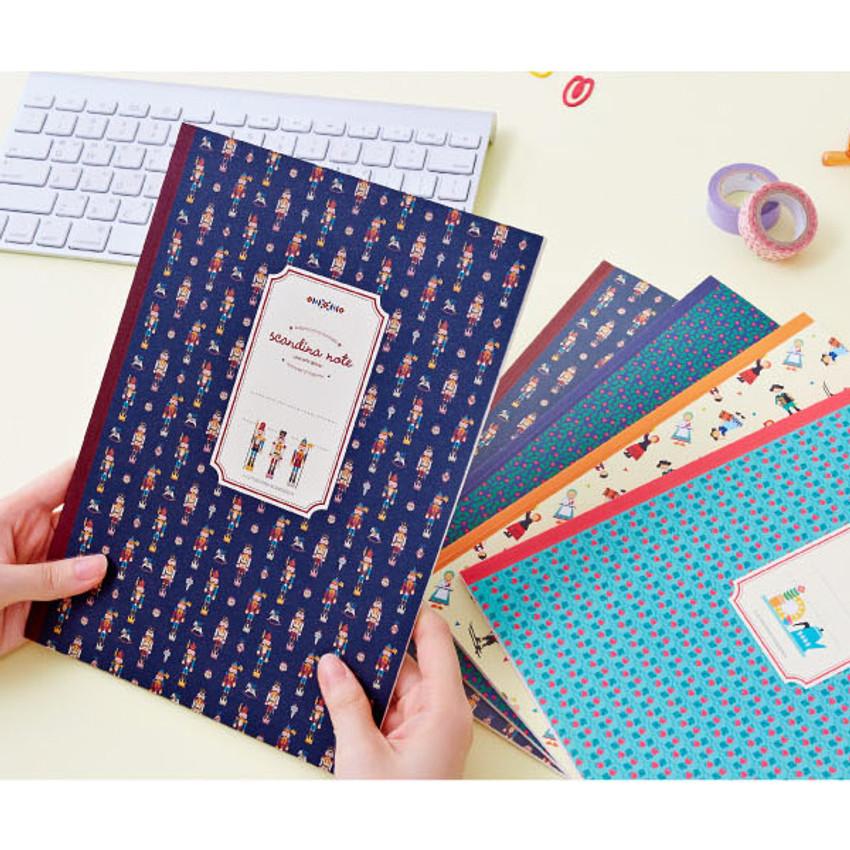 Scandinavia pattern lined notebook large