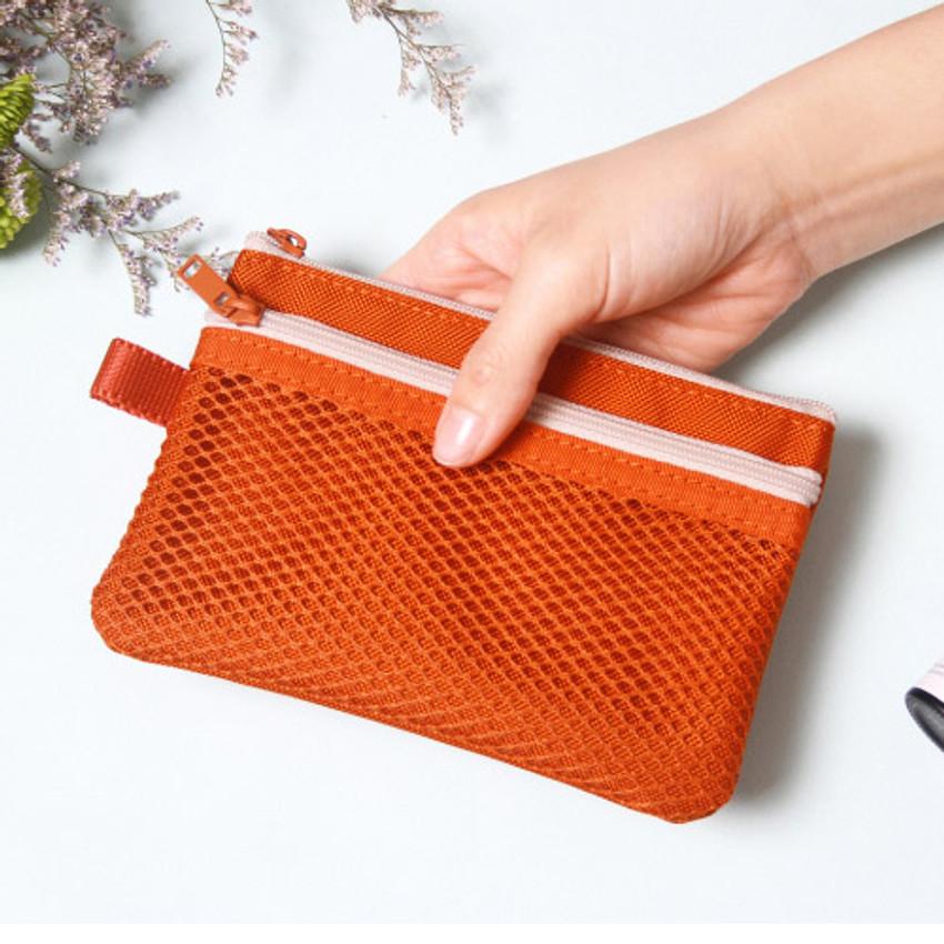 Orange - Double pocket mesh zipper pouch small