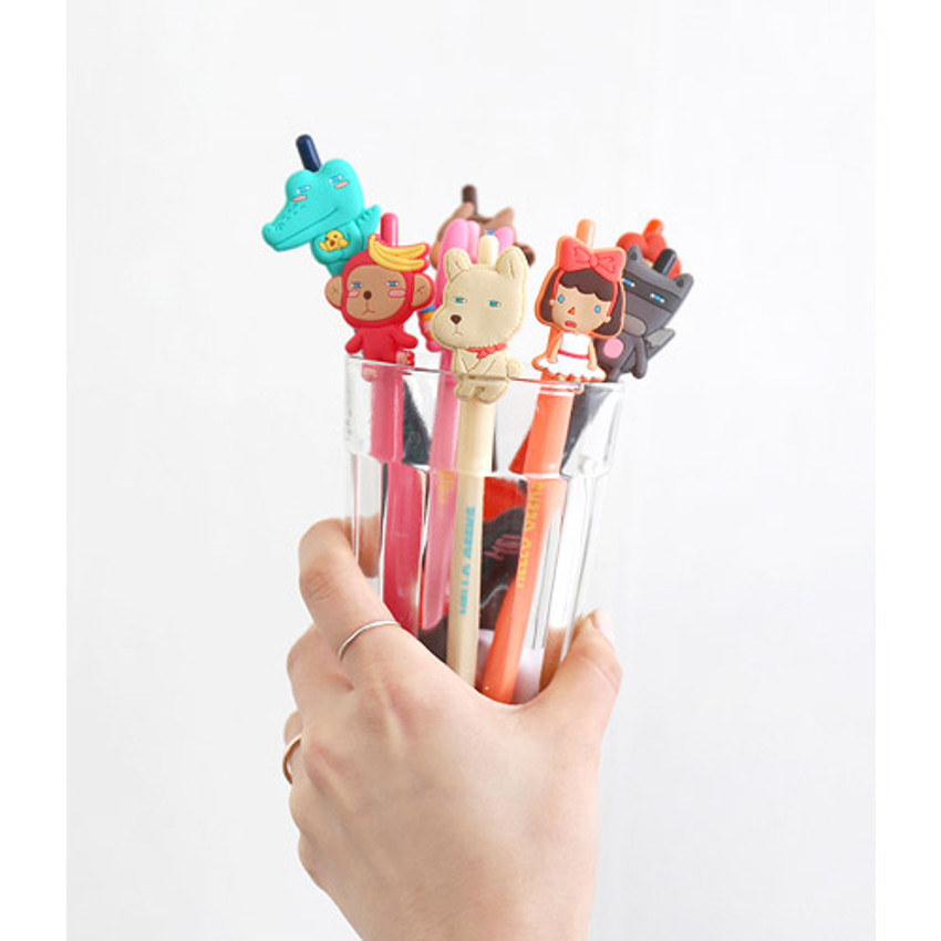 Cute gel pen with soft rubber character 0.38mm ver.3