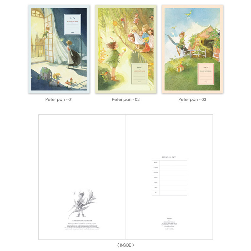 Peter pan - Cute illustration school lined notebook