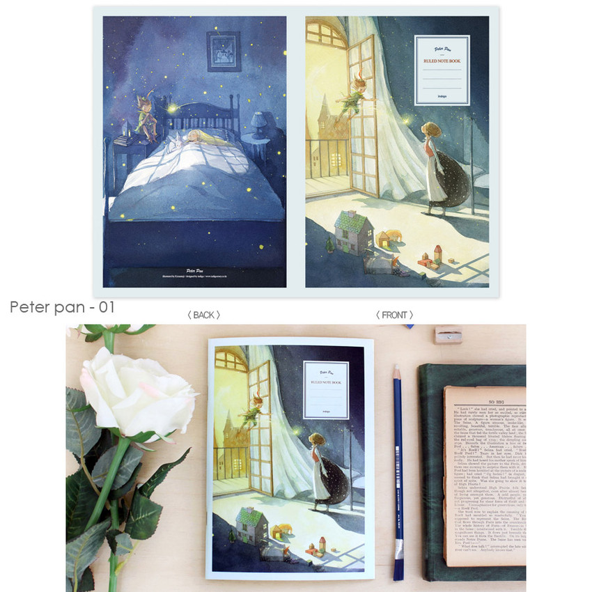 Peter pan 01 - Cute illustration school lined notebook