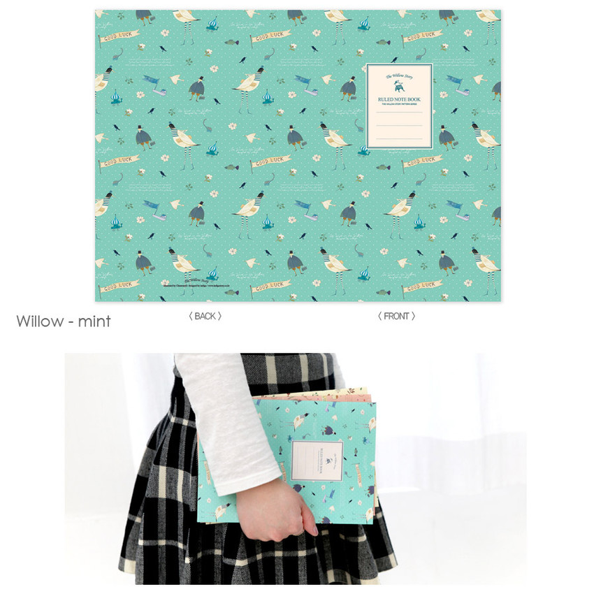 Willow mint - Cute illustration school lined notebook